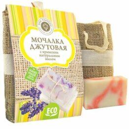 Мочалка джутовая с крымским натуральным мылом Роза