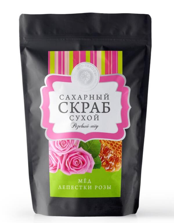 Сухой сахарный скраб «Розовый мед»