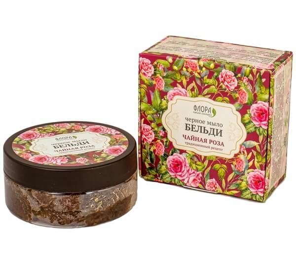 Черное мыло бельди «Чайная роза»
